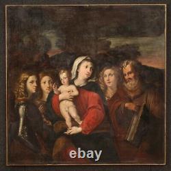 Ancien tableau religieux Vierge à l'enfant avec saints peinture huile sur toile