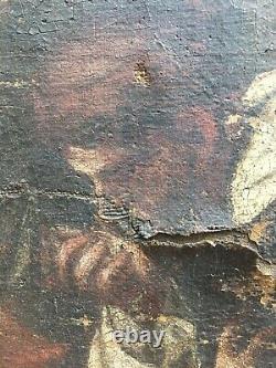 Ancien tableau religieux Vierge peinture huile sur toile du 18ème Avant
