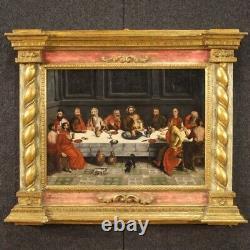 Ancien tableau religieux huile sur panneau Dernière Cène peinture cadre 500