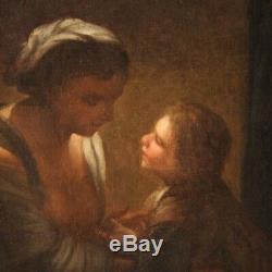 Ancien tableau religieux peinture Charité art huile sur toile XVIIIème siècle