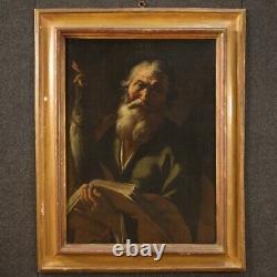 Ancien tableau religieux peinture Saint huile sur toile art sacré 18ème siècle