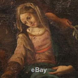 Ancien tableau religieux peinture biblique huile sur toile 700 18ème siècle