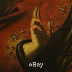 Ancien tableau religieux peinture huile sur toile Christ Salvator Mundi 700