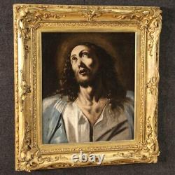 Ancien tableau religieux peinture huile sur toile Extase du Christ 700