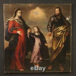 Ancien tableau religieux peinture huile sur toile Sainte Famille 18ème siècle