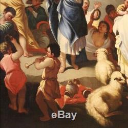Ancien tableau religieux peinture huile sur toile cadre art 700 18ème siècle