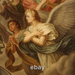 Ancien tableau religieux peinture huile sur toile crucifixion 19ème siècle 800