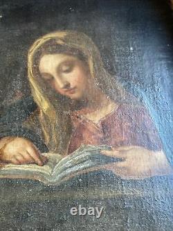 Ancien tableau religieux peinture italienne sur bois