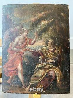 Ancien tableau religieux peinture sur bois Signée G. V. S