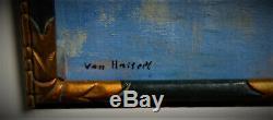 Ancien tableau vue du bassin arcachon signé Van hasselt bordeaux 1930