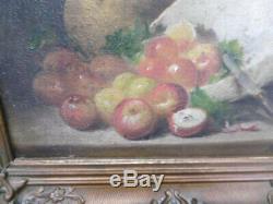 Ancien tableaux peinture nature morte sur panneau signé Morain