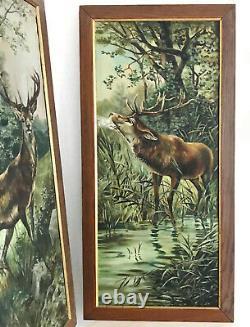 Ancienne & Belle Paire De Tableaux Peinture Huile Sur Toile. Cerf. Chasse Nature