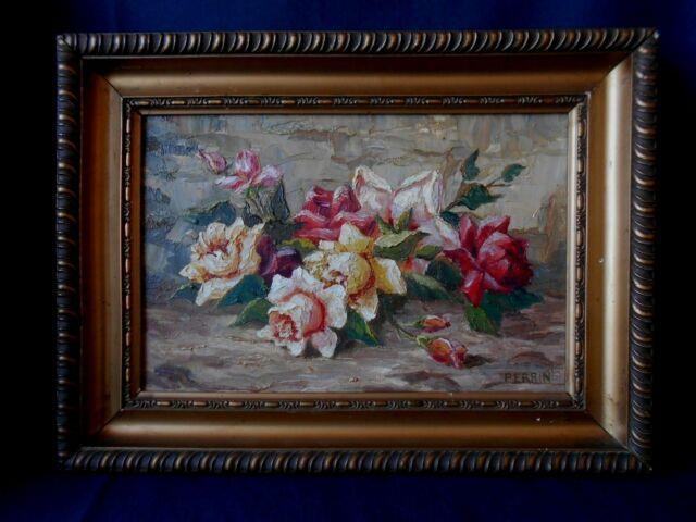 Ancienne Huile Sur Toile Tableau Nature Morte Fleurs Signee