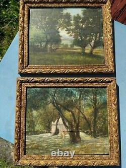Ancienne Paire De Cadre En Bois Dore Peinture Sur Bois Orientaliste Tableau