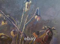 Ancienne Peinture À Thème Floral tableau Fleurs Huile sur Toile Avec Garantie