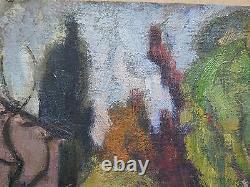 Ancienne Peinture Ans Cinquante tableau à Huile Vue Country Champ de Football p3