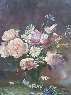Ancienne Peinture HST Tableau Bouquet De Fleurs Par Penchaud 1893 Old Painting