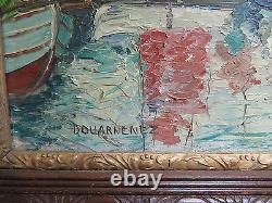 Ancienne Peinture Huile Tela tableau Paysage Marine Hardy Douarnenez France R104