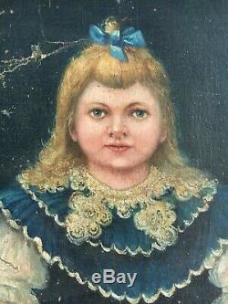 Ancienne Peinture Tableau Huile Sur Toile Fillette Signé À. Furt 1902