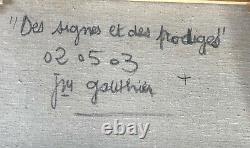 Ancienne Peinture Tableau Jm Gauthier De Signes Et Des Prodiges 020503