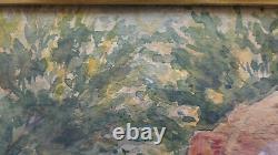 Ancienne Peinture Vue de Un Marabout De Tlemcen En Algérie Signé tableau BM51