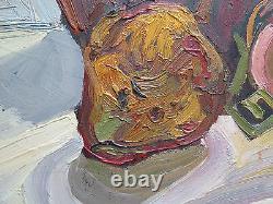 Ancienne Peinture à Huile Sur Table tableau Signé Avec Certificat Original p12
