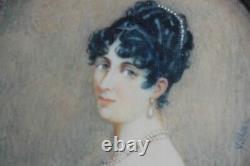 Ancienne Peinture miniature Villier portrait femme tableaux antiquités (44329)