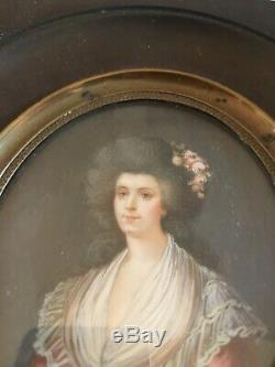 Ancienne Peinture miniature portrait femme tableaux antiquités dentelle drapé