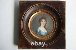 Ancienne Peinture miniature signée portrait femme tableaux antiquités (44330)
