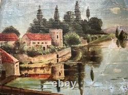 Ancienne Peinture tableau, huile sur toile, signée a identifier