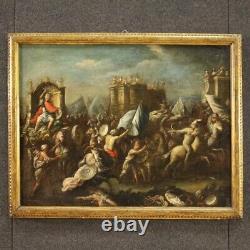 Ancienne bataille tableau huile sur toile peinture 18ème siècle