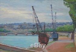 Ancienne huile sur panneau les quais de seine grues signé Lucien Gary tableau