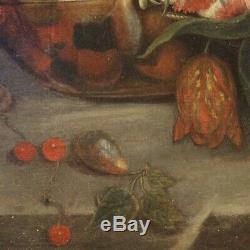 Ancienne nature morte tableau huile sur toile peinture XIXème siècle 800 fleurs
