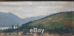 Ancienne paire de tableaux paysage lac montagne HSP années 30 signés SCHWAB