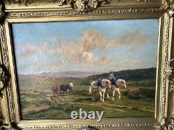 Ancienne paire tableau peinture à l'huile signé cadre doré paysage chevaux XIX°