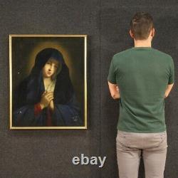 Ancienne peinture Vierge en prière tableau religieux huile sur toile 700