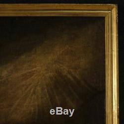 Ancienne peinture espagnol tableau huile sur toile religieux Saint François 600