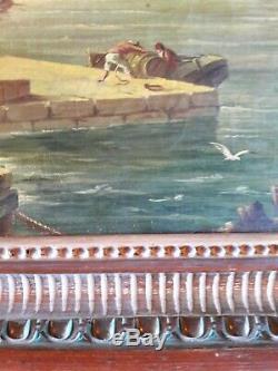 Ancienne peinture grand tableau sur toile scène de port marine signée