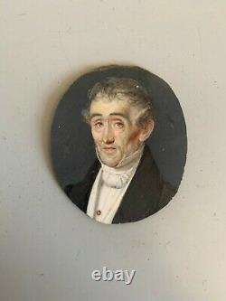 Ancienne peinture miniature portrait homme daté XIXeme tableau