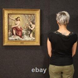 Ancienne peinture religieuse Christ Juge anges tableau huile sur toile 600