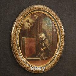 Ancienne peinture religieuse tableau huile sur toile cadre 700 XVIIIème siècle