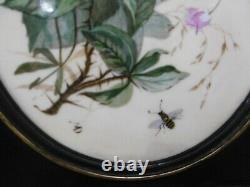 Ancienne peinture sur porcelaine médaillon fleurs Napoléon III tableau
