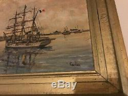 Ancienne peinture tableau de Marine Le pourquoi pas port st Mâlo de FARLès