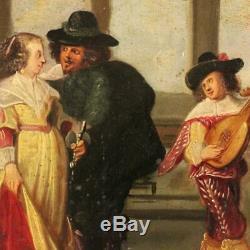 Ancienne peinture tableau français huile panneau scène gallante personnages 800