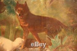 Ancienne peinture tableau huile sur toile paysage animaux loup agneau 800 XIX