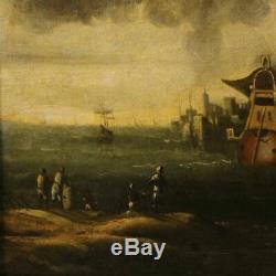 Ancienne peinture tableau italien paysage marine personnages huile sur toile 700