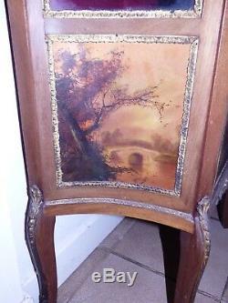 Ancienne vitrine signée lubin a identifier peinture tableau chateau chic meuble