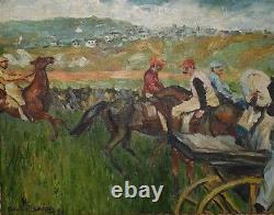 André Planson 1898-1981 Tableau ancien course de chevaux Peinture huile toile
