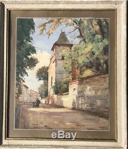 Aquarelle Ancienne A. Gauret (déb. XXe) Peinture Tableau Toulouse Sud-Ouest