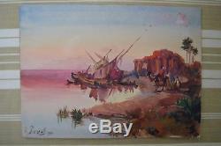 Aquarelle orientaliste ancienne Paul Pascal tableau peinture